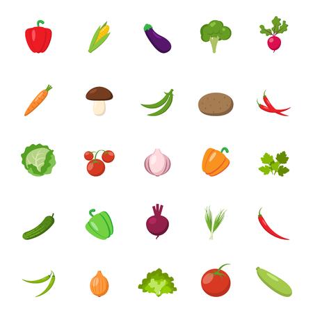 Flat vegetables set.