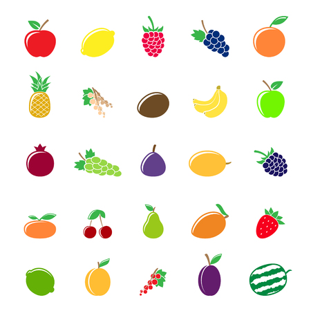 Colorful fruit silhouettes