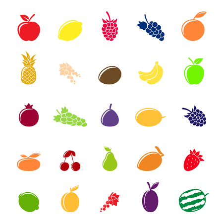 Flat colorful fruit silhouettes