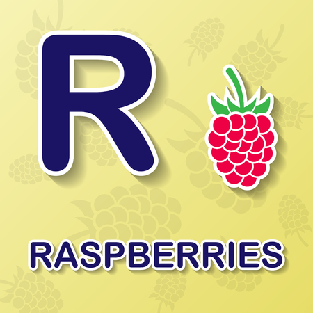 photorealism: Raspberrie alphabet background Illustration