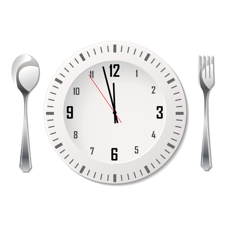 Cutlery with clock Ilustrace