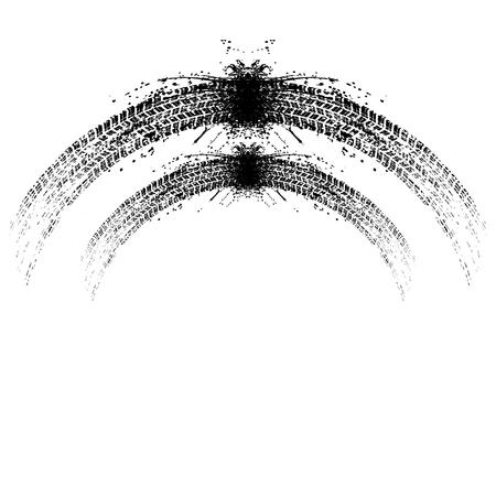 Grunge two tire tracks vector illutration Illustration