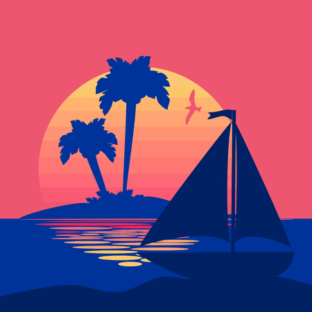 Summer background with sunset and palms and boat Illustration