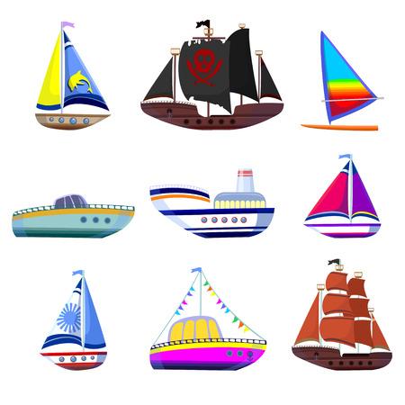Set of colorful boat illustration.