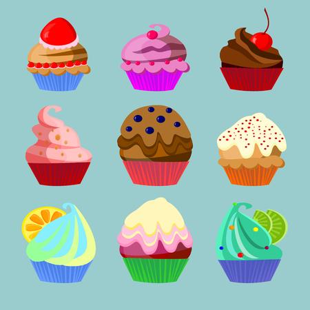 Set of nine different cakes isolated on blue background Illustration