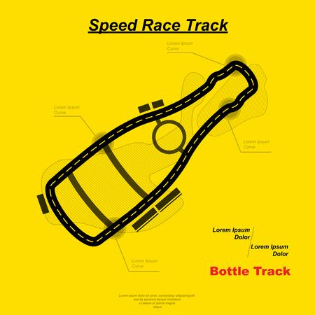 Speed bottle track on plain background.