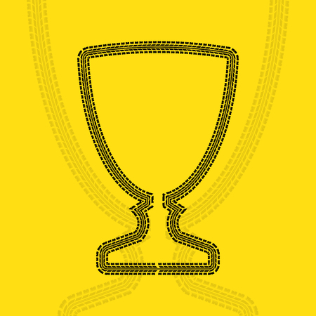 Tire track cup on plain background.