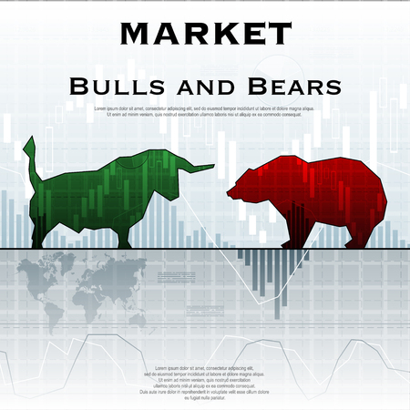 Market exchange background with bull and bear.