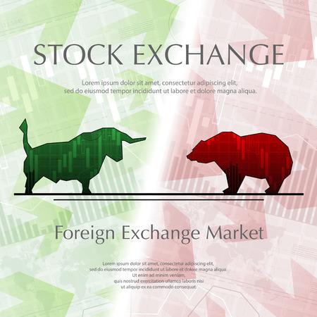 Stock exchange background, bull and bear  illustration.