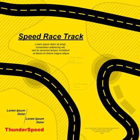 Yellow track background isolated on plain background.