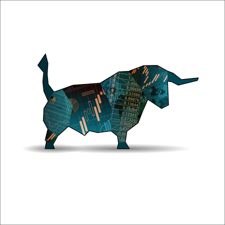 Bull with candlesticks