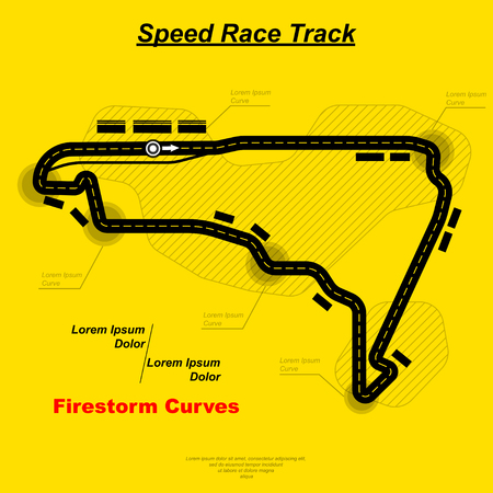 Street chase circuit illustration on yellow background. Illustration
