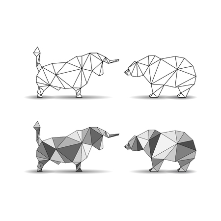 Bulls and bears silhouettes Vector illustration.