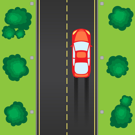 Road with car illustration
