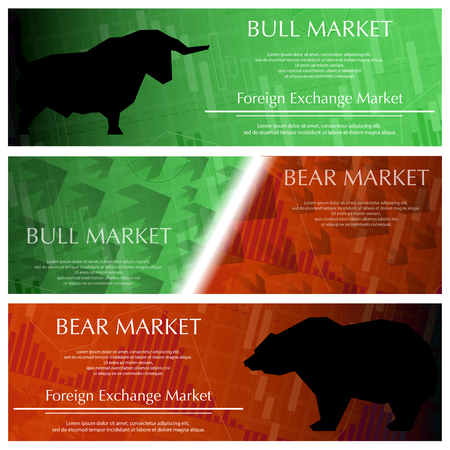Three market banners illustration on white background. Illustration