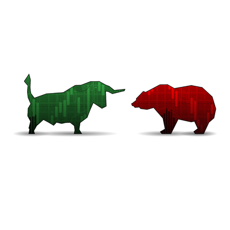 Bull and bear isolated on white background