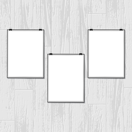 White background with gray wooden texture and three white placards for sample pictures