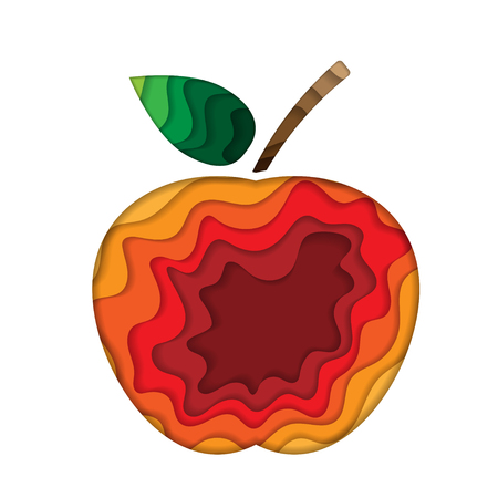 Apple paper silhouette Vector illustration.