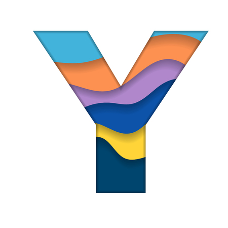 Colorful letter Y with abstract design. Illustration