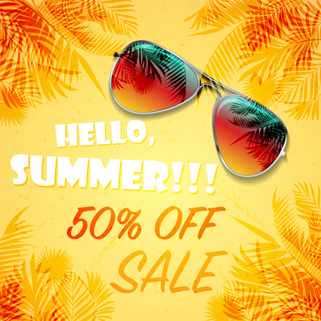 Big bright color summer sunglasses on sand with palms and summer sale discount text