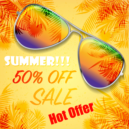 Big bright color summer sunglasses on sand with palms and sample text. Illustration