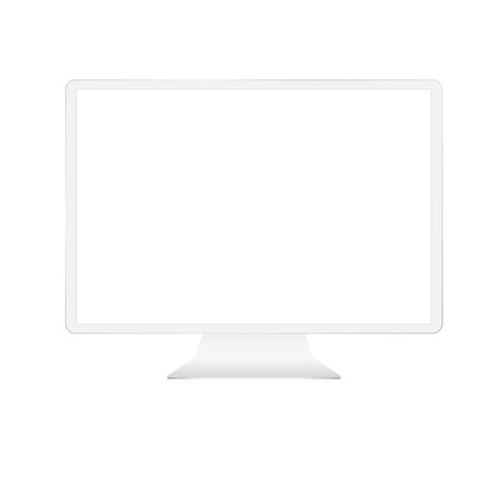 White custom made monitor with empty screen isolated on white background.
