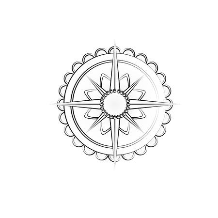 Outline wind rose icon Ilustrace