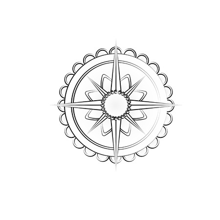 Outline wind rose icon Illustration