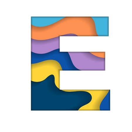 Colorful letter E Vector illustration. Illustration