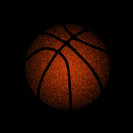 Black background with orange dots basketball ball