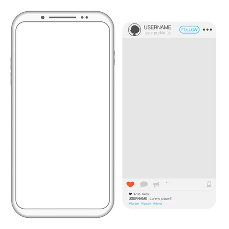 White custom made mobile phone with empty screen and sample social media account isolated on white background Illustration