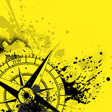 Black wind rose silhouette with different grunge blots and splashes isolated on yellow background. With halftones and blood blobs