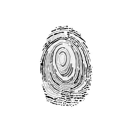 Fingerprint grayscale silhouette Illustration