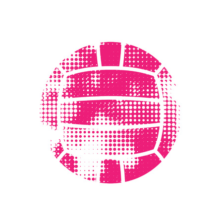 Grunge halftone pink water polo ball isolated on white background
