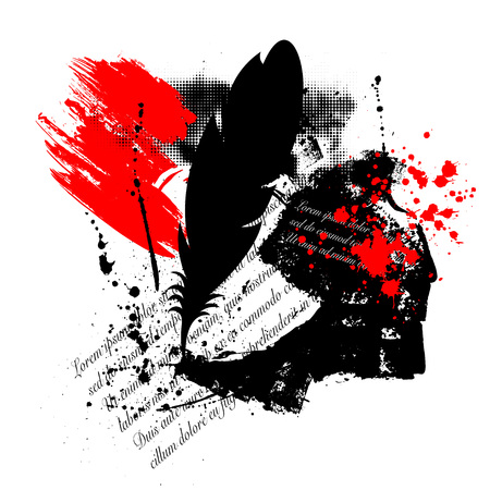 Abstract trash polka background with feather, grunge splash and text 向量圖像