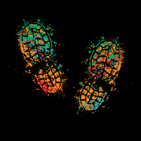 Grunge four color silhouette of shoes print on black background