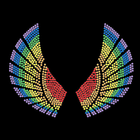 Abstract wings silhouette with dimonds different colors Illustration