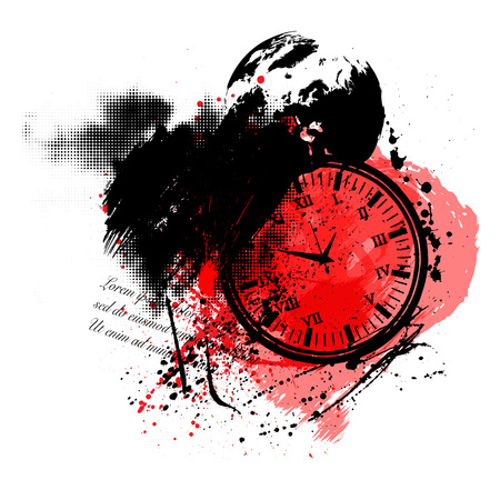 Abstract trash polka background with watch, grunge splash and text