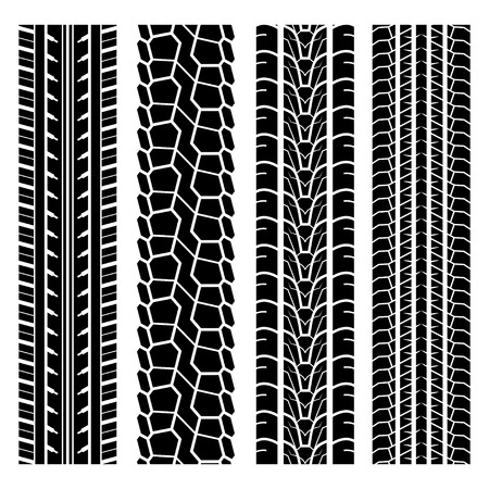 Set of four black car tire track silhouettes isolated on white background