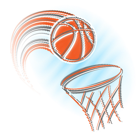Scribble orange basket and ball isolated on white background