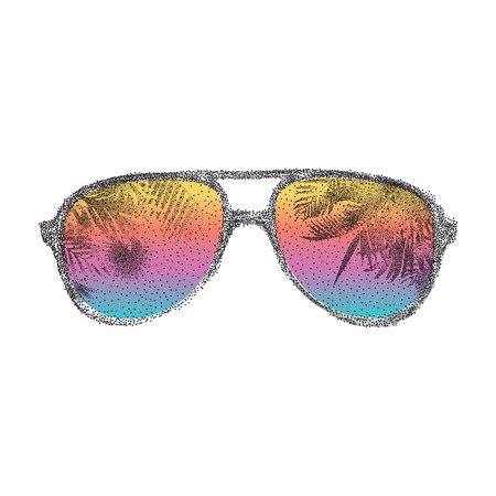 Abstract dotted summer sunglasses with palms mirrors