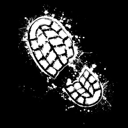 Grunge white silhouette of shoe print on black background Vetores