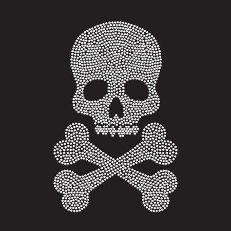 White diamond silhouettes of human skull on black background