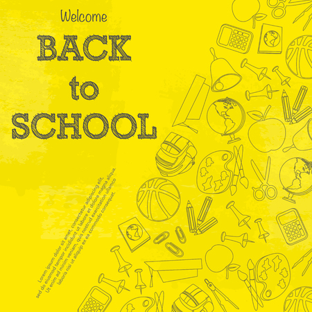 Set of different school equipment isolated on yellow background
