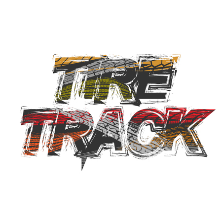 Tire track grunge black text with tires silhouettes different colors