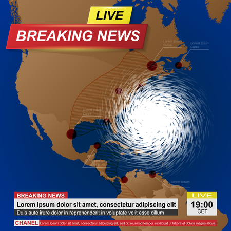 Breaking news with america map and white hurricane Foto de archivo - 105305621