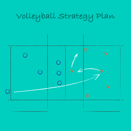 Abstract volleyball field silhouette with playing scheme