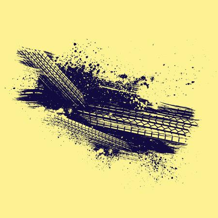 Sfondo giallo con traccia di pneumatici scuri e spruzzi di grunge