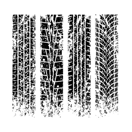 Set of four different grunge tire tracks isolated on white background