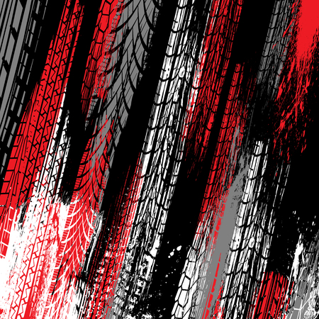 Black background with red, white and gray ink blots splash and tire tracks